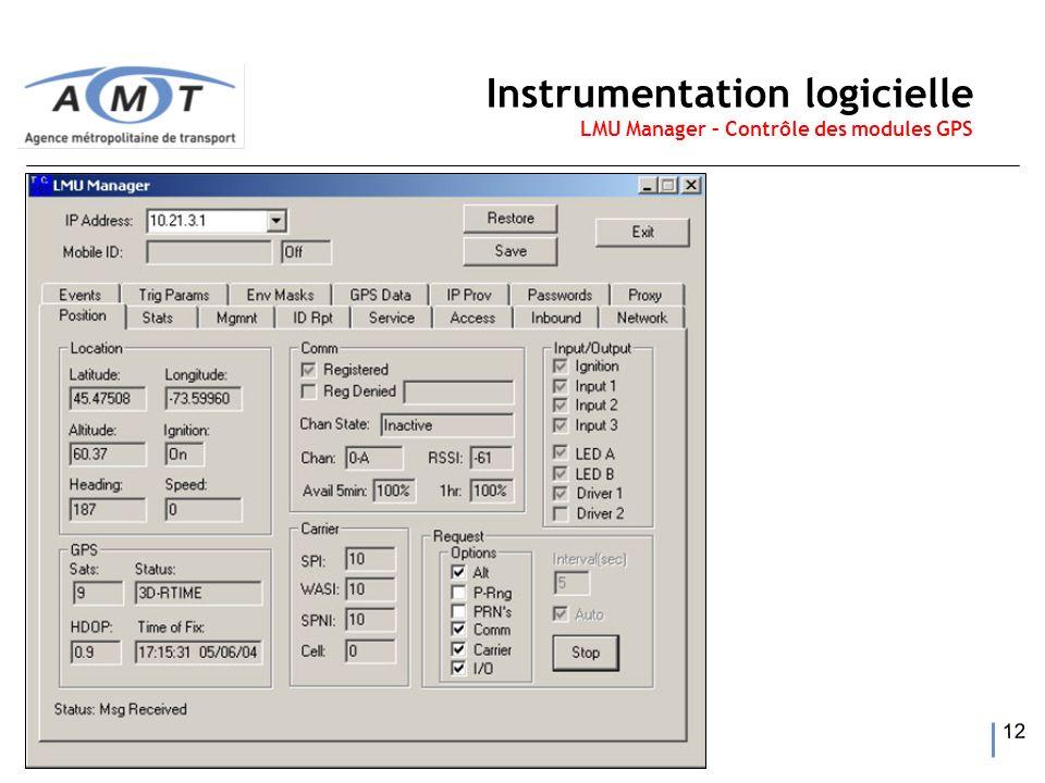 12 Instrumentation logicielle LMU Manager – Contrôle des modules GPS