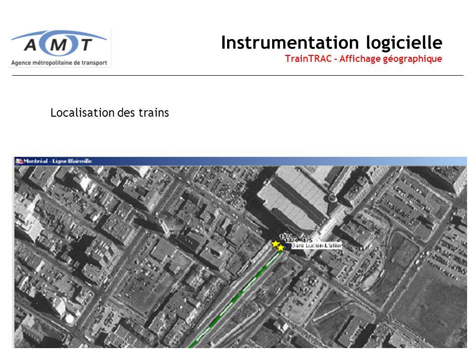 15 Instrumentation logicielle TrainTRAC - Affichage géographique Localisation des trains