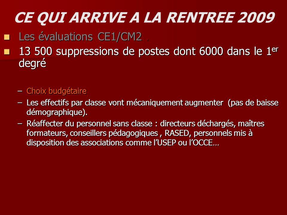 CE QUI ARRIVE A LA RENTREE 2009 Les évaluations CE1 et CM2 : Les évaluations CE1 et CM2 :.