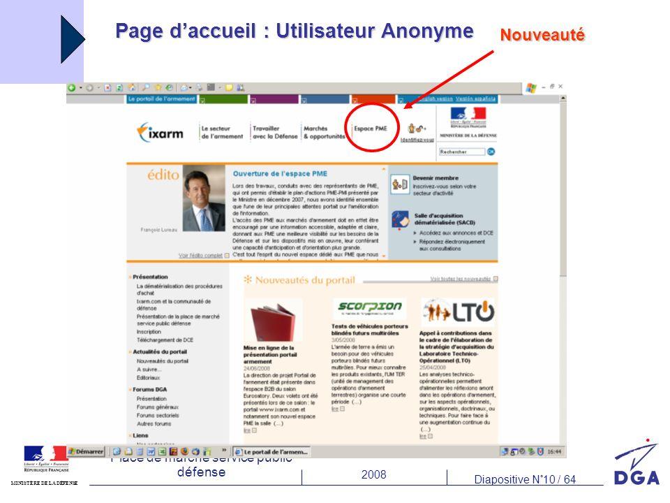 2008 Diapositive N°10 / 64 MINISTÈRE DE LA DÉFENSE Place de marché service public défense Page daccueil : Utilisateur Anonyme Nouveauté