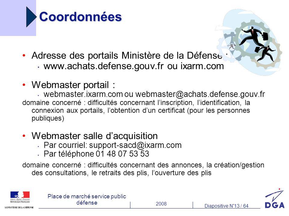2008 Diapositive N°13 / 64 MINISTÈRE DE LA DÉFENSE Place de marché service public défense Coordonnées Adresse des portails Ministère de la Défense : w