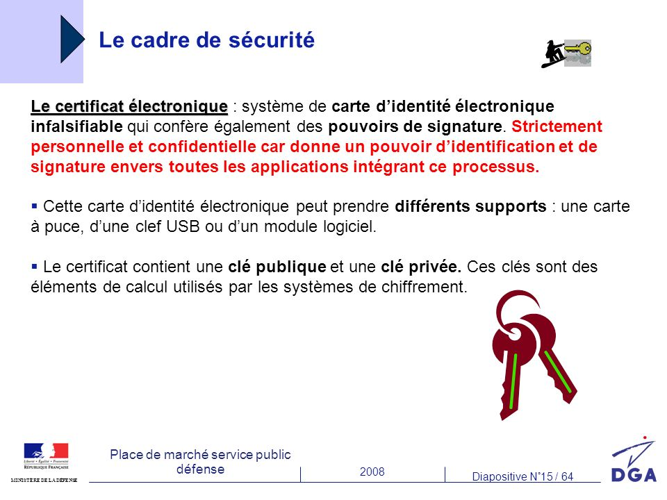 2008 Diapositive N°15 / 64 MINISTÈRE DE LA DÉFENSE Place de marché service public défense Le cadre de sécurité Le certificat électronique Le certificat électronique : système de carte didentité électronique infalsifiable qui confère également des pouvoirs de signature.