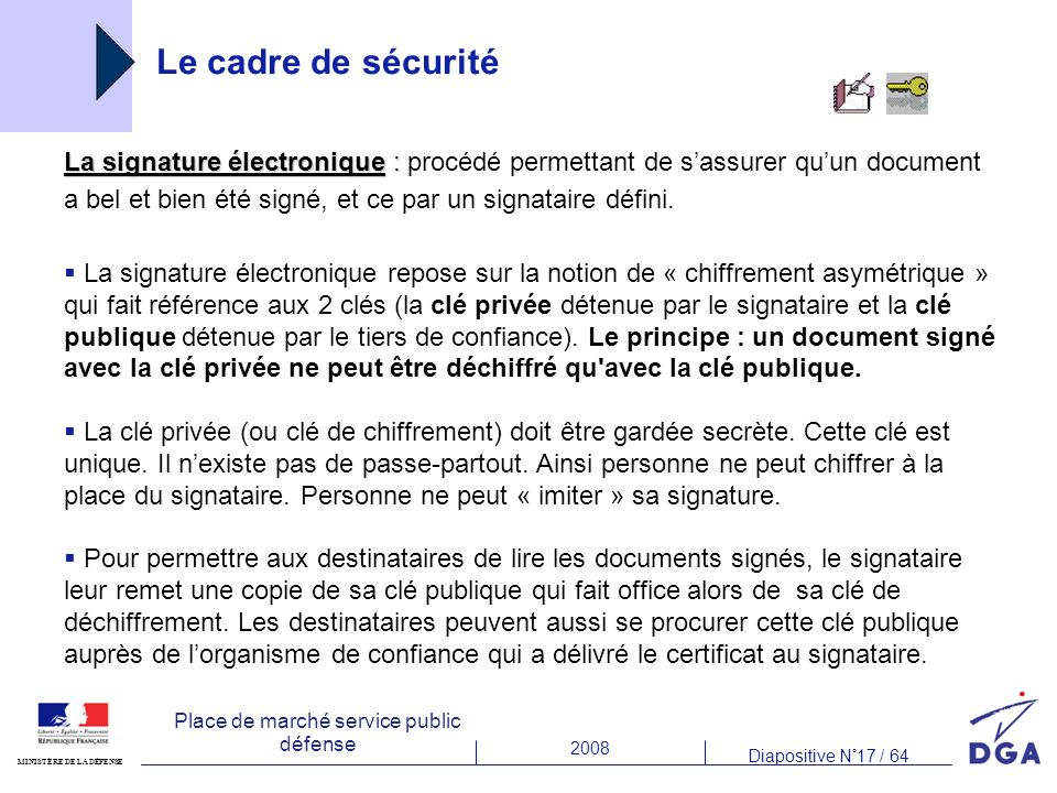 2008 Diapositive N°17 / 64 MINISTÈRE DE LA DÉFENSE Place de marché service public défense Le cadre de sécurité La signature électronique : La signature électronique : procédé permettant de sassurer quun document a bel et bien été signé, et ce par un signataire défini.