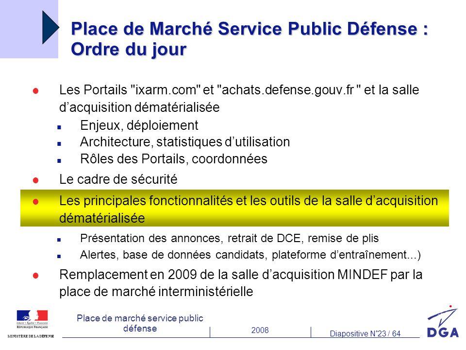 2008 Diapositive N°23 / 64 MINISTÈRE DE LA DÉFENSE Place de marché service public défense Place de Marché Service Public Défense : Ordre du jour Les P