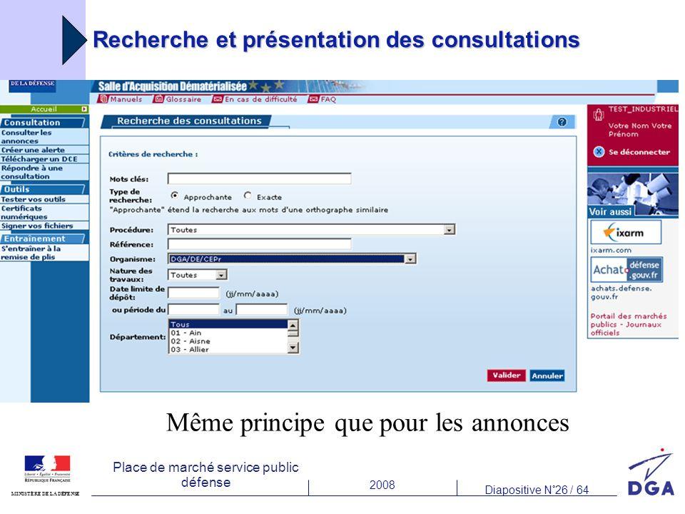 2008 Diapositive N°26 / 64 MINISTÈRE DE LA DÉFENSE Place de marché service public défense Recherche et présentation des consultations Même principe que pour les annonces