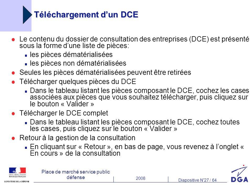 2008 Diapositive N°27 / 64 MINISTÈRE DE LA DÉFENSE Place de marché service public défense Téléchargement dun DCE Le contenu du dossier de consultation