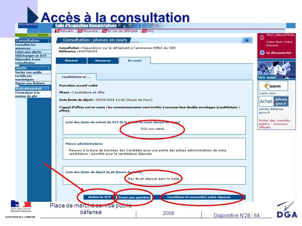 2008 Diapositive N°28 / 64 MINISTÈRE DE LA DÉFENSE Place de marché service public défense Accès à la consultation