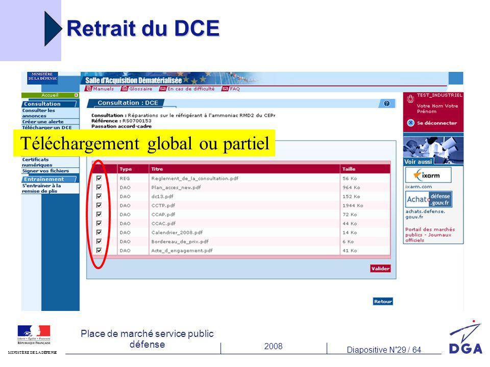2008 Diapositive N°29 / 64 MINISTÈRE DE LA DÉFENSE Place de marché service public défense Retrait du DCE Téléchargement global ou partiel