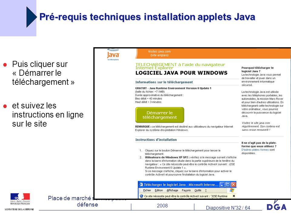 2008 Diapositive N°32 / 64 MINISTÈRE DE LA DÉFENSE Place de marché service public défense Puis cliquer sur « Démarrer le téléchargement » et suivez les instructions en ligne sur le site Pré-requis techniques installation applets Java