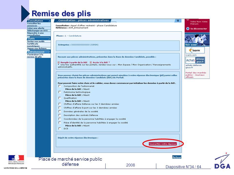 2008 Diapositive N°34 / 64 MINISTÈRE DE LA DÉFENSE Place de marché service public défense Remise des plis