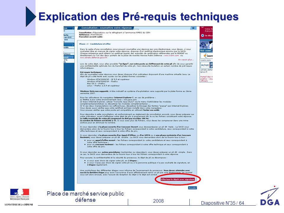 2008 Diapositive N°35 / 64 MINISTÈRE DE LA DÉFENSE Place de marché service public défense Explication des Pré-requis techniques