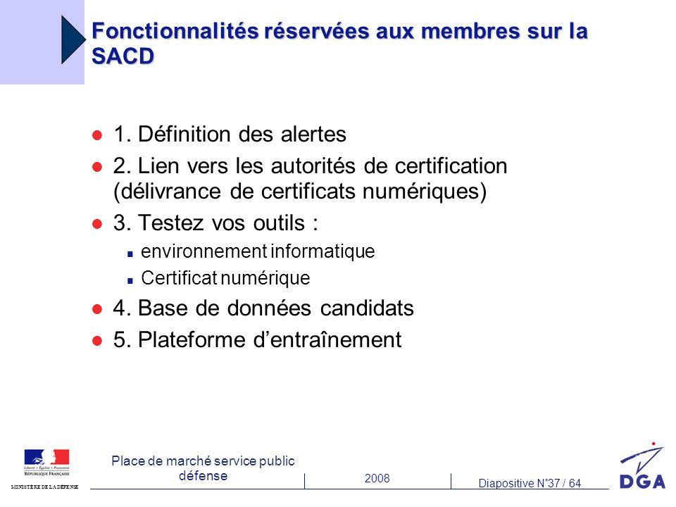 2008 Diapositive N°37 / 64 MINISTÈRE DE LA DÉFENSE Place de marché service public défense Fonctionnalités réservées aux membres sur la SACD 1.