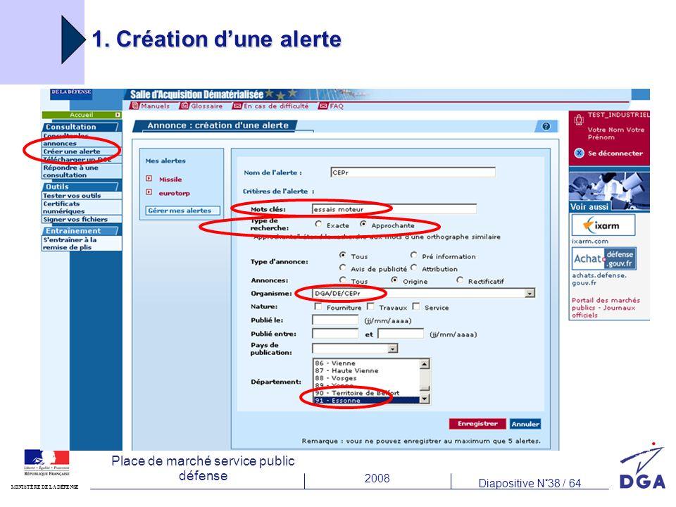 2008 Diapositive N°38 / 64 MINISTÈRE DE LA DÉFENSE Place de marché service public défense 1. Création dune alerte