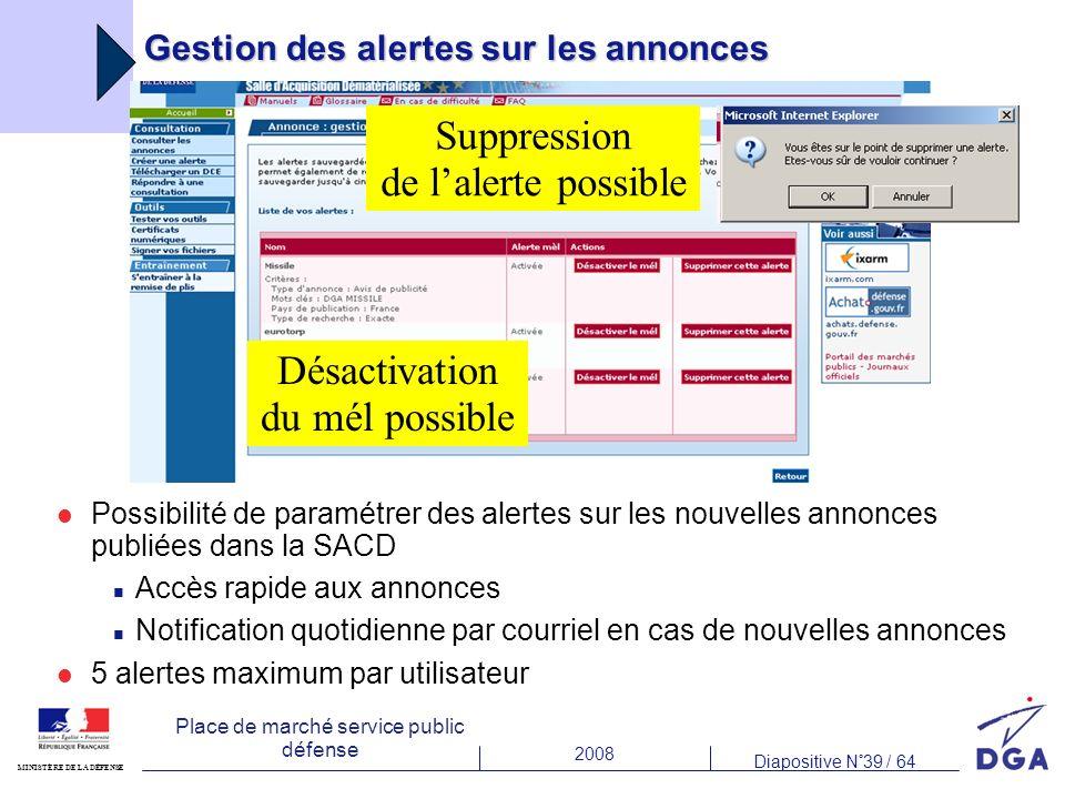 2008 Diapositive N°39 / 64 MINISTÈRE DE LA DÉFENSE Place de marché service public défense Gestion des alertes sur les annonces Possibilité de paramétr