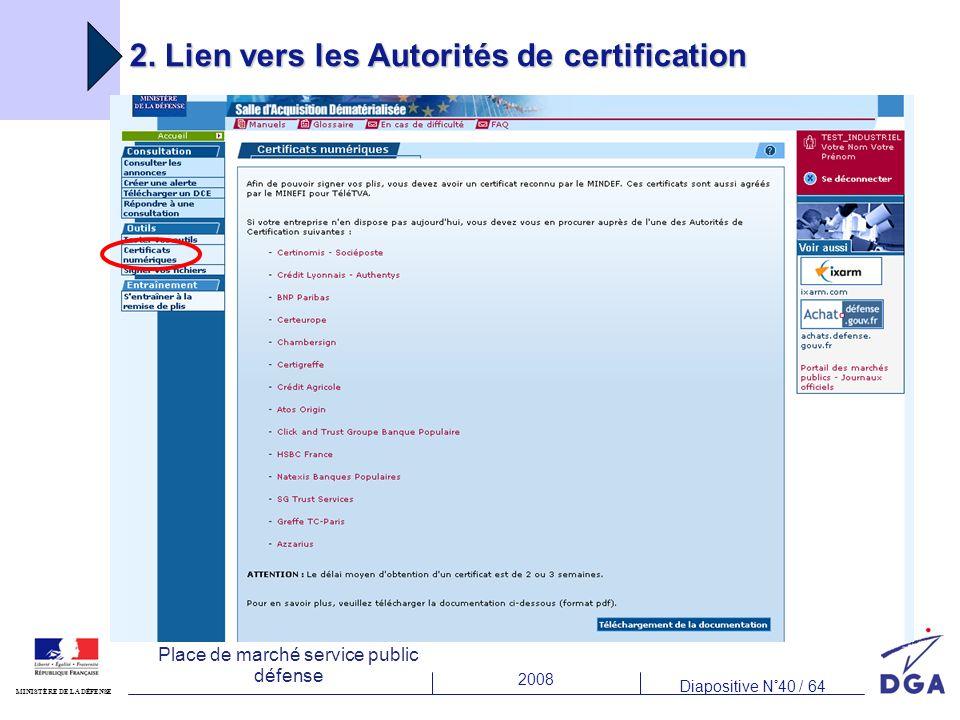 2008 Diapositive N°40 / 64 MINISTÈRE DE LA DÉFENSE Place de marché service public défense 2. Lien vers les Autorités de certification