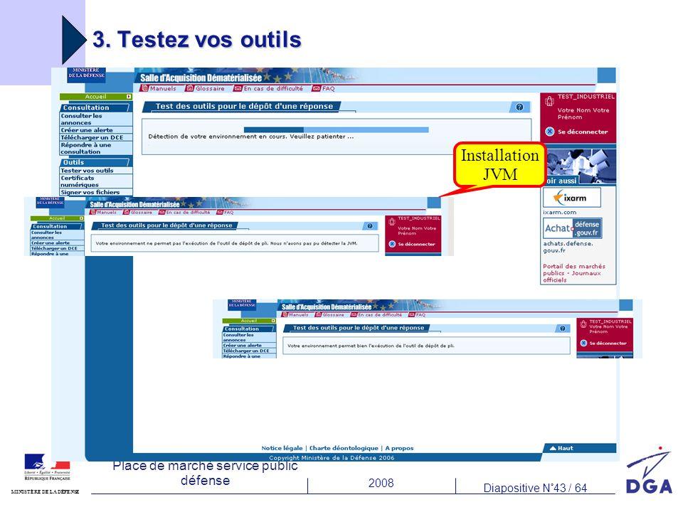 2008 Diapositive N°43 / 64 MINISTÈRE DE LA DÉFENSE Place de marché service public défense 3. Testez vos outils Installation JVM