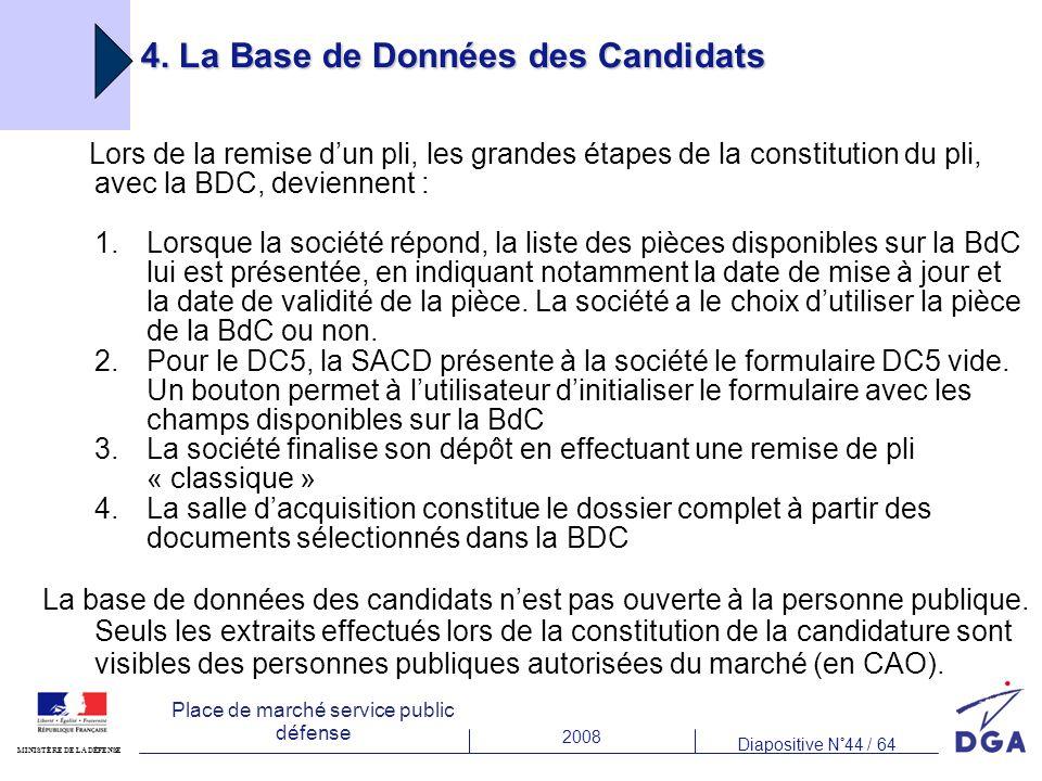 2008 Diapositive N°44 / 64 MINISTÈRE DE LA DÉFENSE Place de marché service public défense 4. La Base de Données des Candidats Lors de la remise dun pl