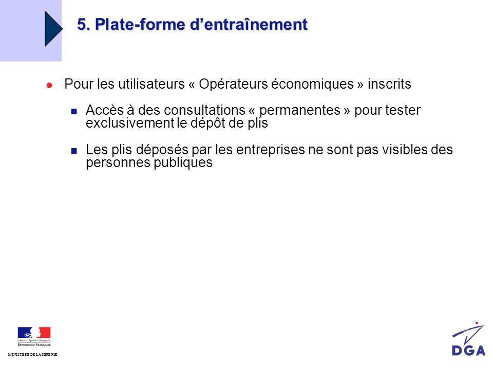 2008 Diapositive N°46 / 64 MINISTÈRE DE LA DÉFENSE Place de marché service public défense 5. Plate-forme dentraînement Pour les utilisateurs « Opérate