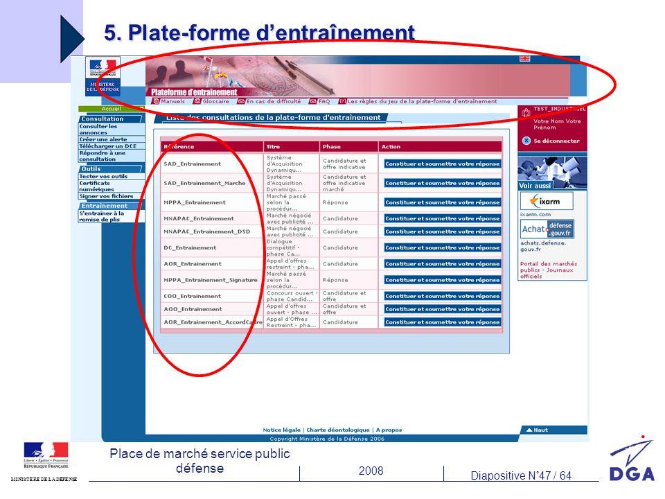 2008 Diapositive N°47 / 64 MINISTÈRE DE LA DÉFENSE Place de marché service public défense 5. Plate-forme dentraînement