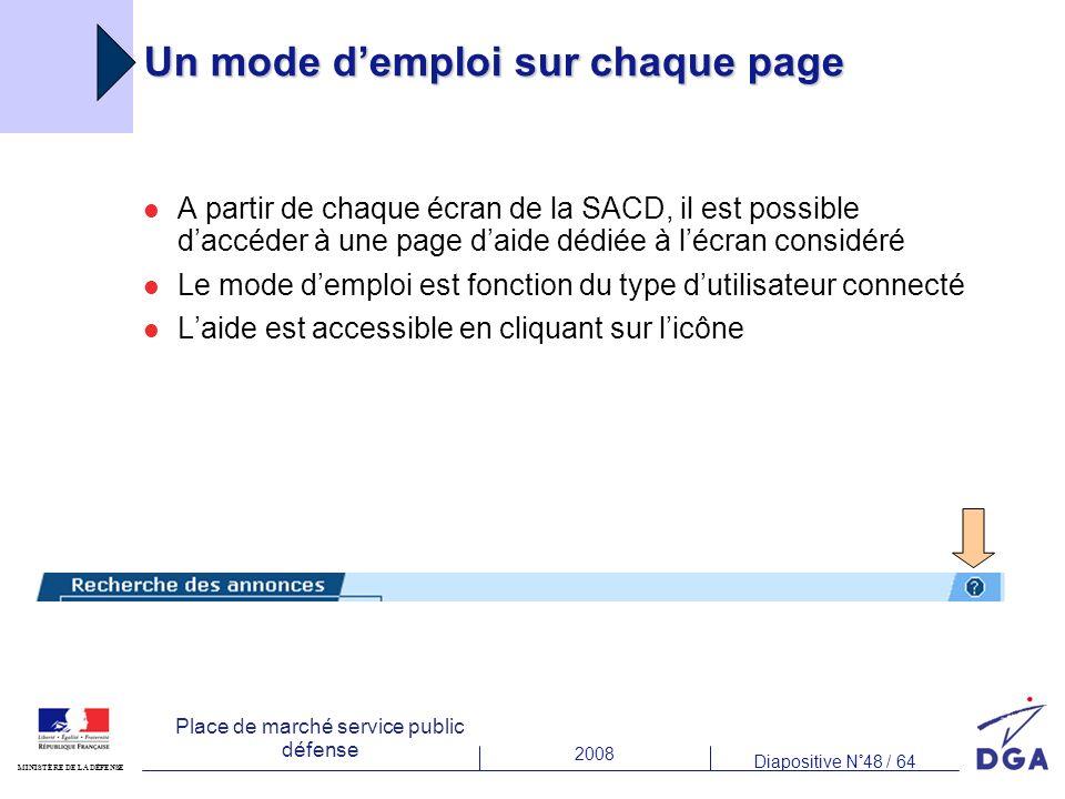 2008 Diapositive N°48 / 64 MINISTÈRE DE LA DÉFENSE Place de marché service public défense Un mode demploi sur chaque page A partir de chaque écran de