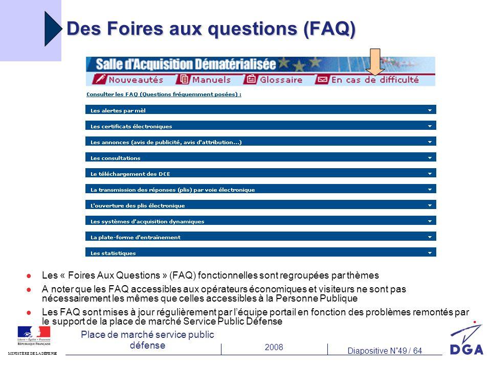 2008 Diapositive N°49 / 64 MINISTÈRE DE LA DÉFENSE Place de marché service public défense Des Foires aux questions (FAQ) Les « Foires Aux Questions »