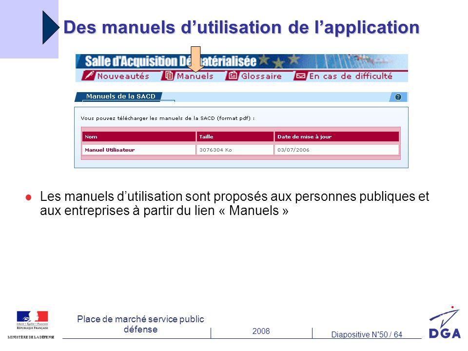 2008 Diapositive N°50 / 64 MINISTÈRE DE LA DÉFENSE Place de marché service public défense Des manuels dutilisation de lapplication Les manuels dutilis