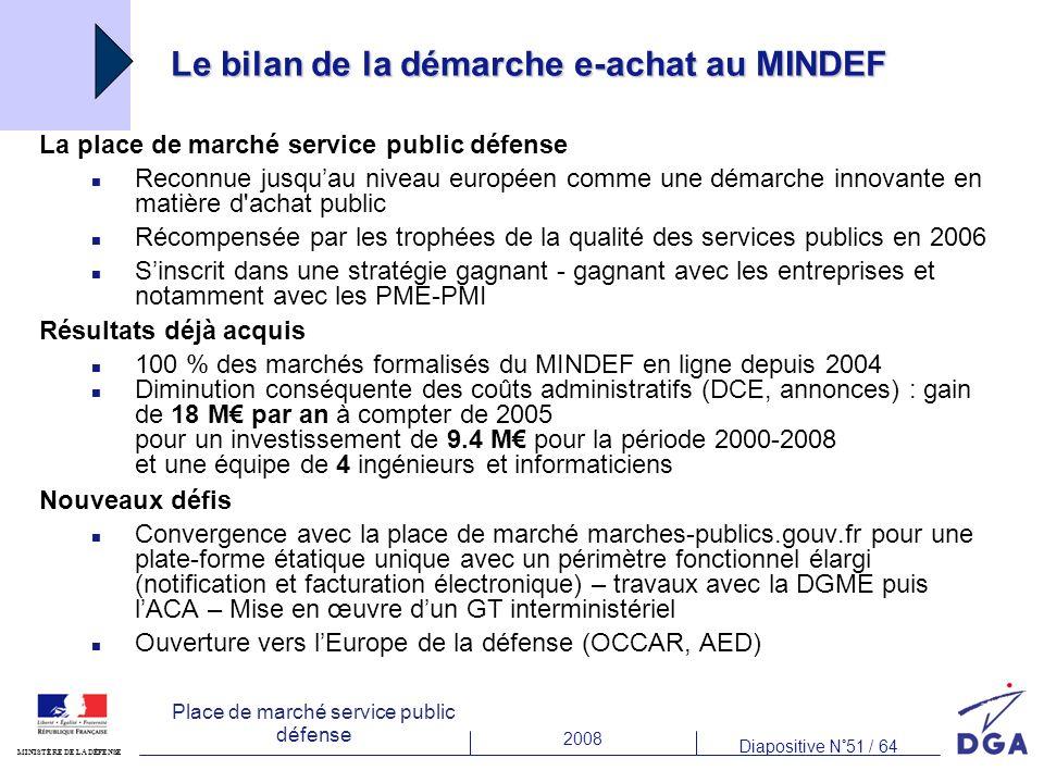 2008 Diapositive N°51 / 64 MINISTÈRE DE LA DÉFENSE Place de marché service public défense Le bilan de la démarche e-achat au MINDEF La place de marché