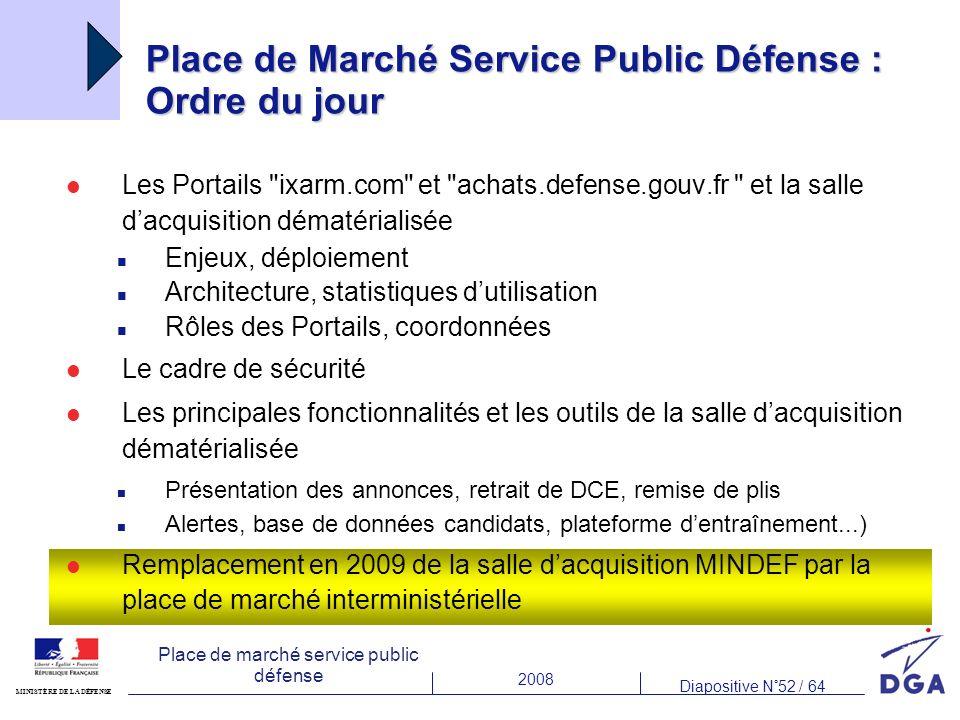 2008 Diapositive N°52 / 64 MINISTÈRE DE LA DÉFENSE Place de marché service public défense Place de Marché Service Public Défense : Ordre du jour Les P