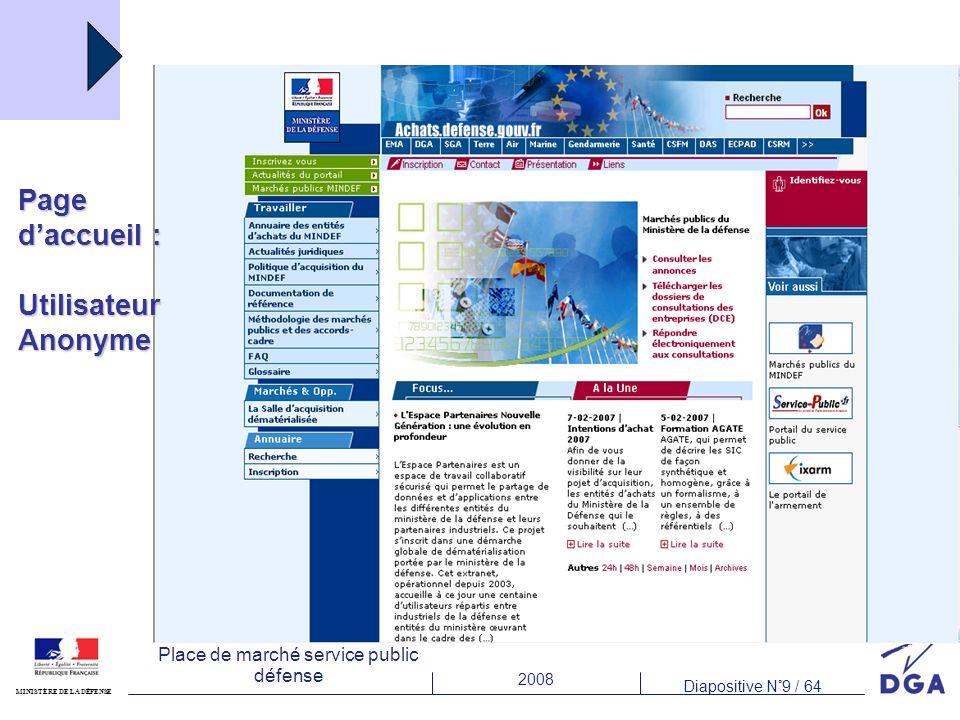 2008 Diapositive N°9 / 64 MINISTÈRE DE LA DÉFENSE Place de marché service public défense Page daccueil : UtilisateurAnonyme
