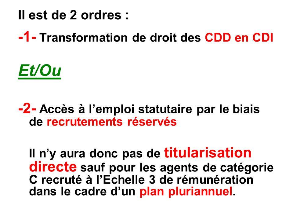 Il est de 2 ordres : -1- Transformation de droit des CDD en CDI Et/Ou -2- Accès à lemploi statutaire par le biais de recrutements réservés Il ny aura donc pas de titularisation directe sauf pour les agents de catégorie C recruté à lEchelle 3 de rémunération dans le cadre dun plan pluriannuel.