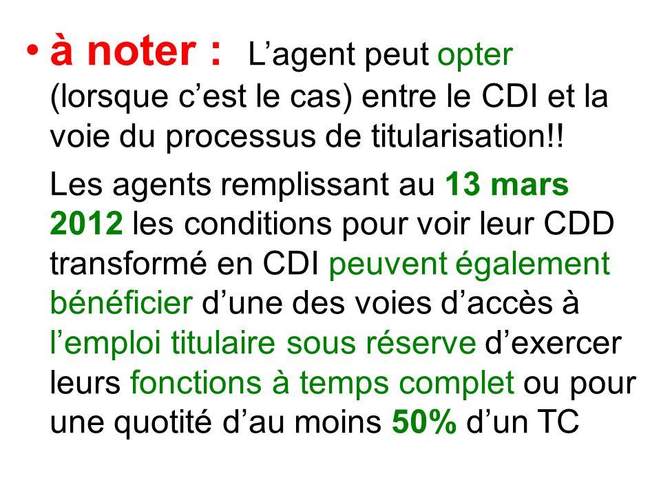 à noter : Lagent peut opter (lorsque cest le cas) entre le CDI et la voie du processus de titularisation!.