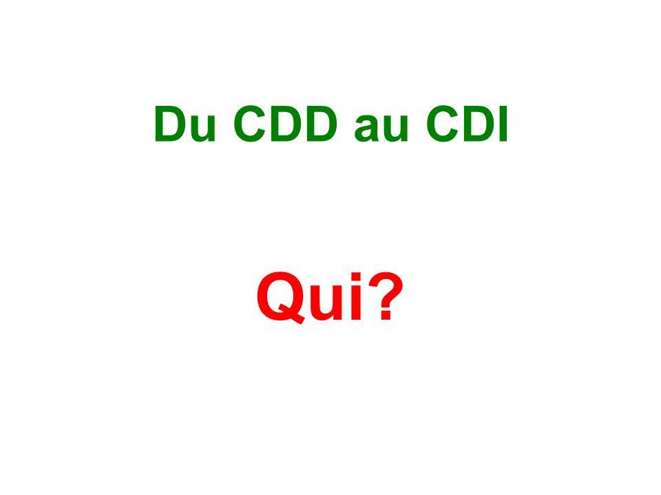 Du CDD au CDI Qui?