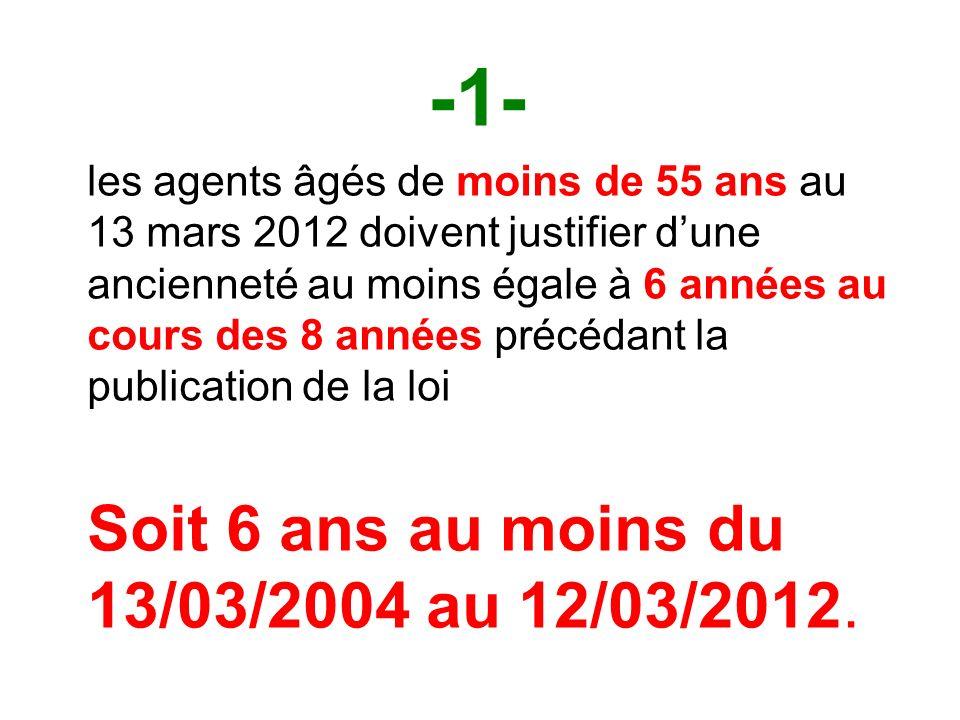 -1- les agents âgés de moins de 55 ans au 13 mars 2012 doivent justifier dune ancienneté au moins égale à 6 années au cours des 8 années précédant la publication de la loi Soit 6 ans au moins du 13/03/2004 au 12/03/2012.