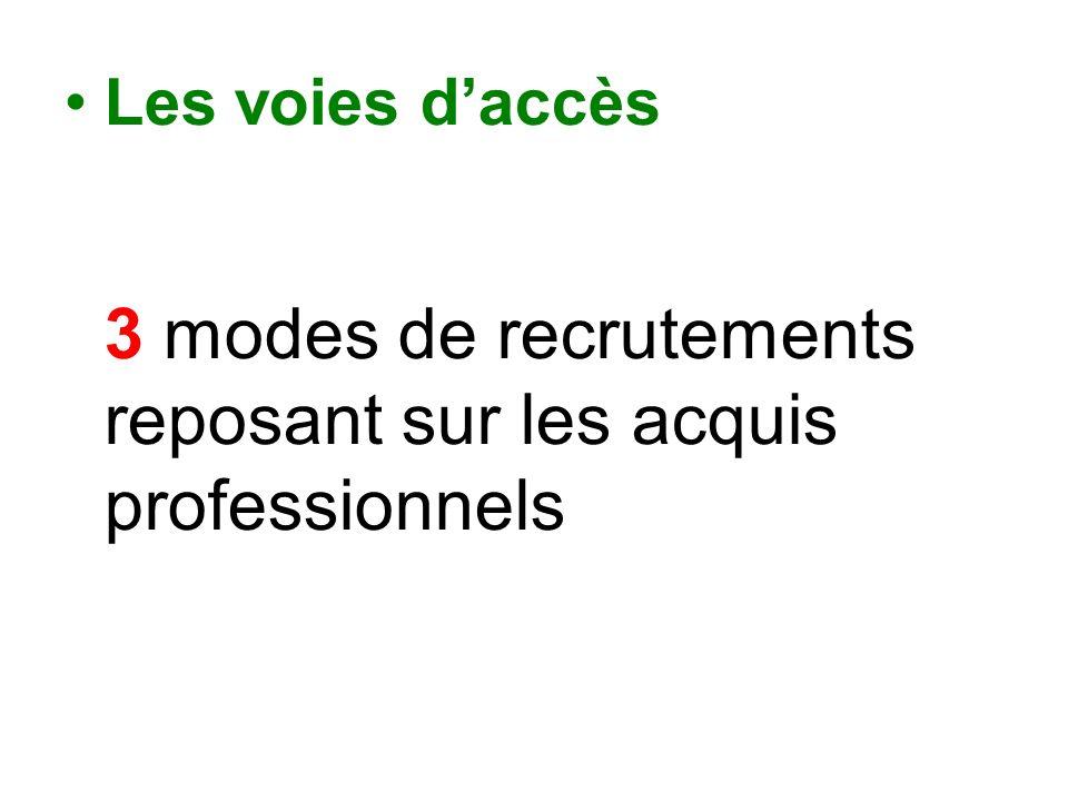 Les voies daccès 3 modes de recrutements reposant sur les acquis professionnels