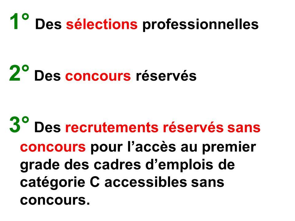 1° Des sélections professionnelles 2° Des concours réservés 3° Des recrutements réservés sans concours pour laccès au premier grade des cadres demplois de catégorie C accessibles sans concours.