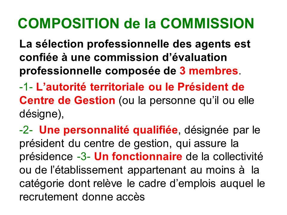 COMPOSITION de la COMMISSION La sélection professionnelle des agents est confiée à une commission dévaluation professionnelle composée de 3 membres.