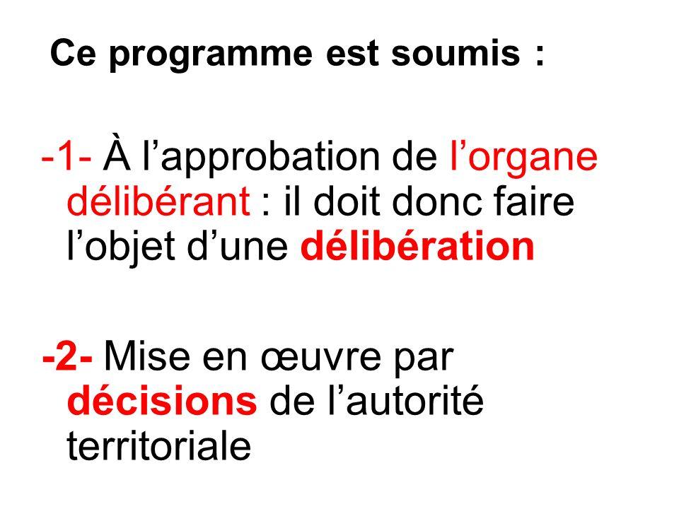 Ce programme est soumis : -1- À lapprobation de lorgane délibérant : il doit donc faire lobjet dune délibération -2- Mise en œuvre par décisions de lautorité territoriale