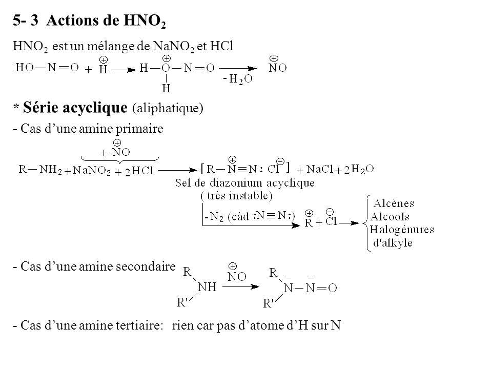 5- 3 Actions de HNO 2 HNO 2 est un mélange de NaNO 2 et HCl * Série acyclique (aliphatique) - Cas dune amine primaire - Cas dune amine secondaire - Ca