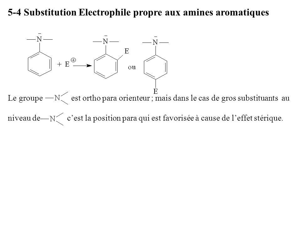 5-4 Substitution Electrophile propre aux amines aromatiques Le groupe est ortho para orienteur ; mais dans le cas de gros substituants au niveau de ce