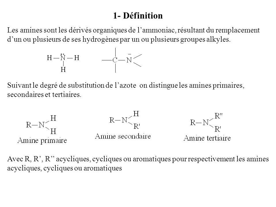 1- Définition Les amines sont les dérivés organiques de lammoniac, résultant du remplacement dun ou plusieurs de ses hydrogènes par un ou plusieurs gr