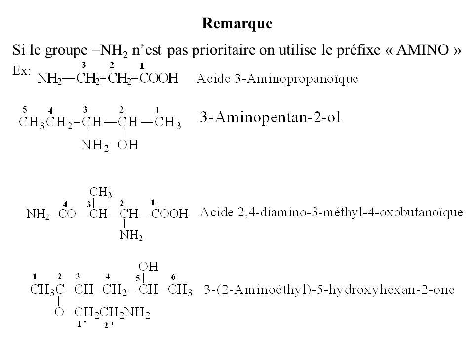Remarque Si le groupe –NH 2 nest pas prioritaire on utilise le préfixe « AMINO » Ex: