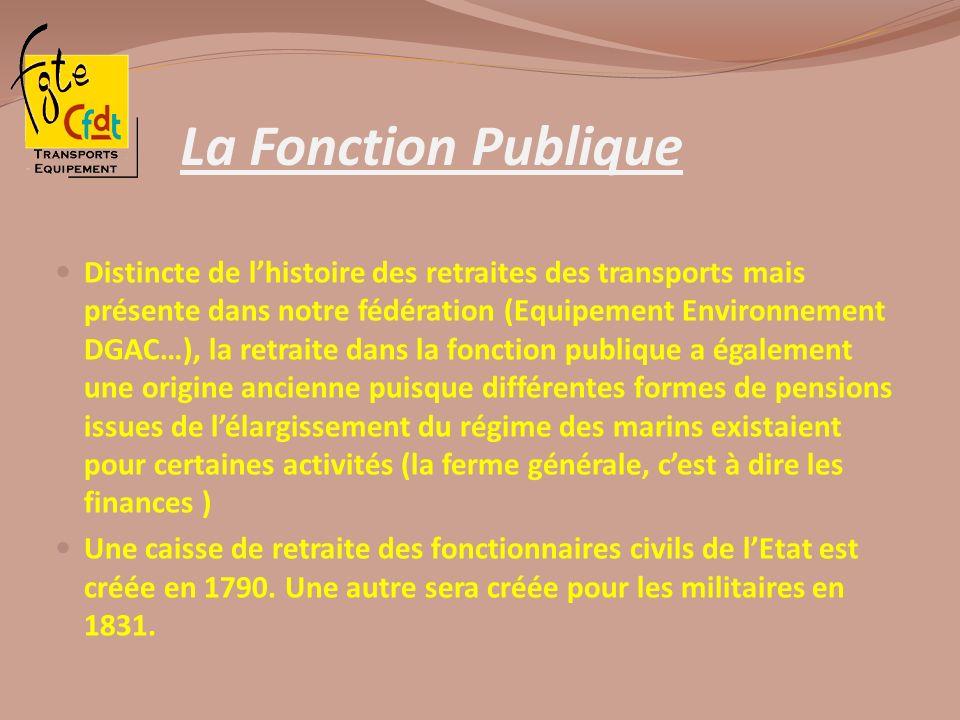 La Fonction Publique Distincte de lhistoire des retraites des transports mais présente dans notre fédération (Equipement Environnement DGAC…), la retr