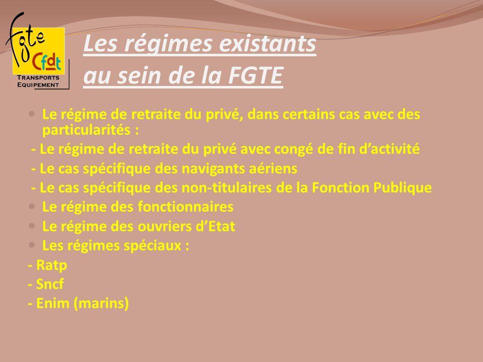 Les régimes existants au sein de la FGTE Le régime de retraite du privé, dans certains cas avec des particularités : - Le régime de retraite du privé