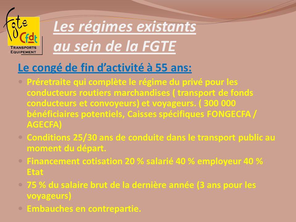 Les régimes existants au sein de la FGTE Le congé de fin dactivité à 55 ans: Préretraite qui complète le régime du privé pour les conducteurs routiers
