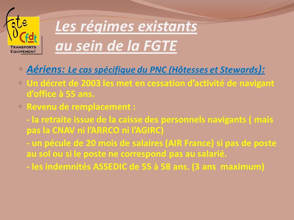 Les régimes existants au sein de la FGTE Aériens: Le cas spécifique du PNC (Hôtesses et Stewards ): Un décret de 2003 les met en cessation dactivité d