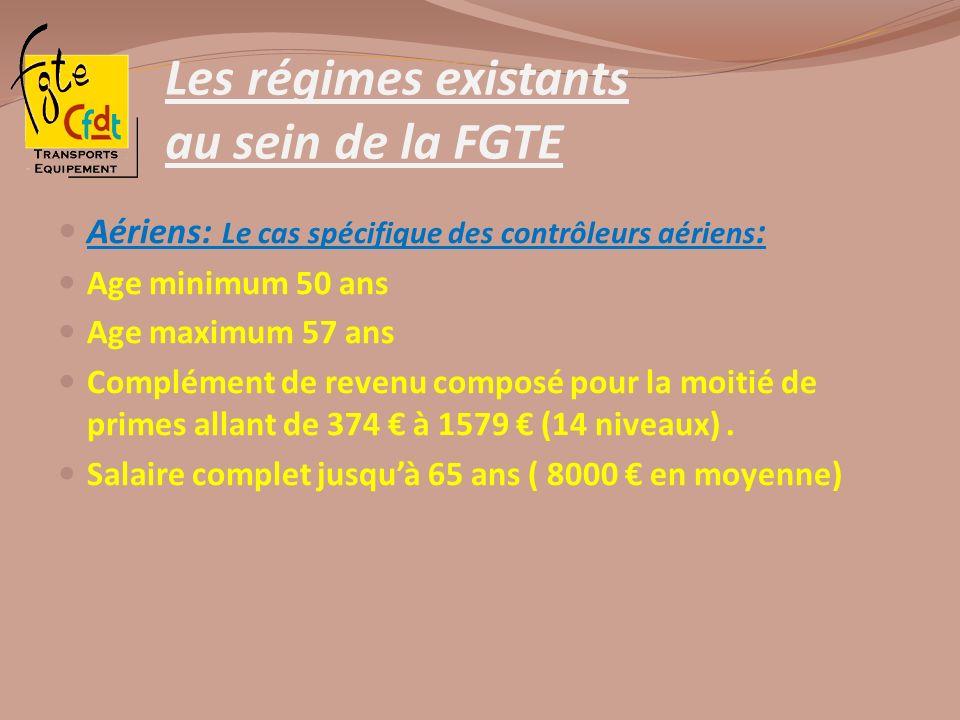 Les régimes existants au sein de la FGTE Aériens: Le cas spécifique des contrôleurs aériens : Age minimum 50 ans Age maximum 57 ans Complément de reve