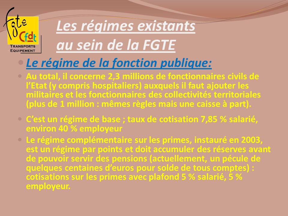 Les régimes existants au sein de la FGTE Le régime de la fonction publique: Au total, il concerne 2,3 millions de fonctionnaires civils de lEtat (y co