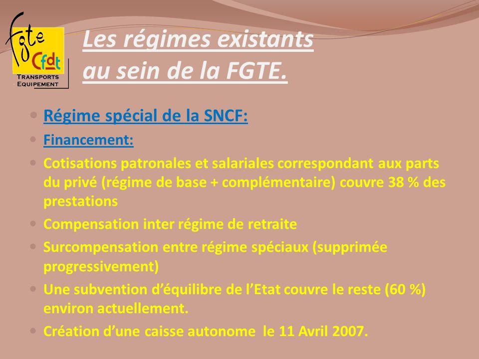 Les régimes existants au sein de la FGTE. Régime spécial de la SNCF: Financement: Cotisations patronales et salariales correspondant aux parts du priv