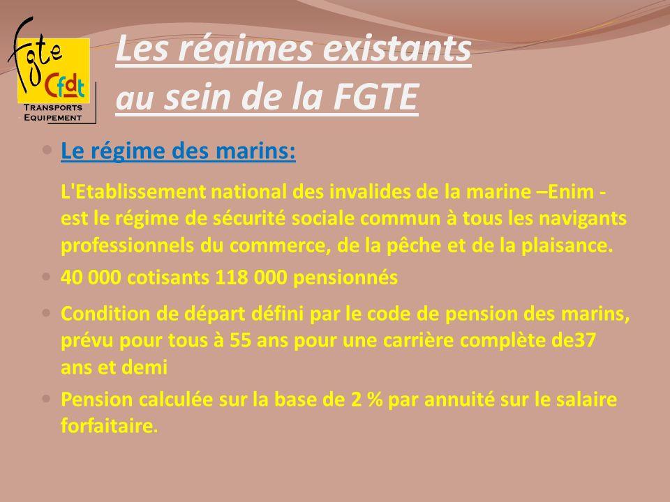 Les régimes existants au sein de la FGTE Le régime des marins: L'Etablissement national des invalides de la marine –Enim - est le régime de sécurité s