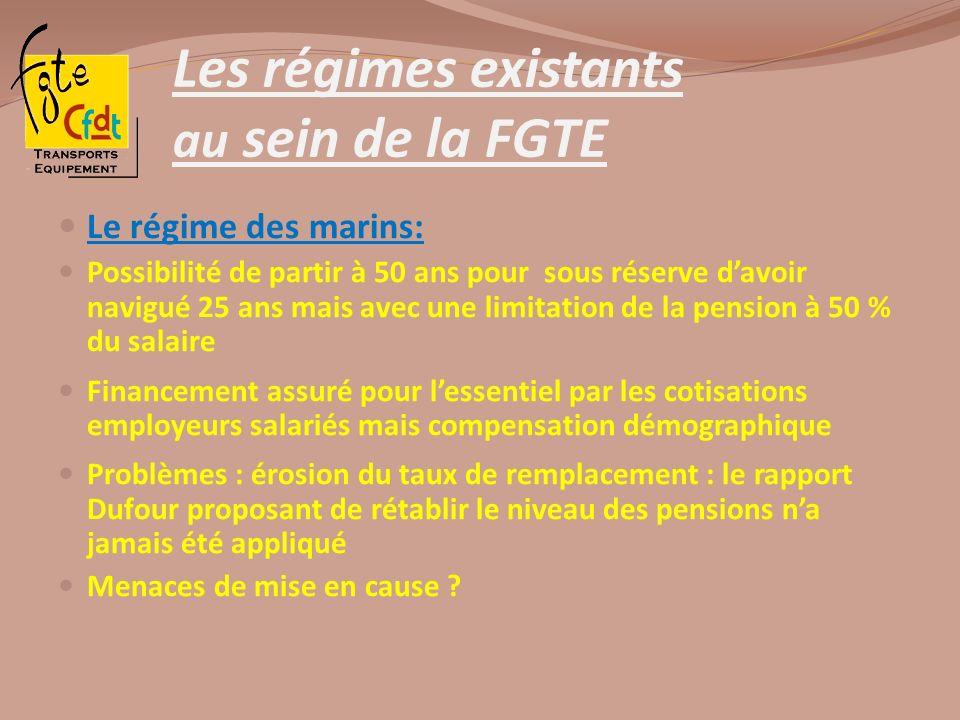 Les régimes existants au sein de la FGTE Le régime des marins: Possibilité de partir à 50 ans pour sous réserve davoir navigué 25 ans mais avec une li